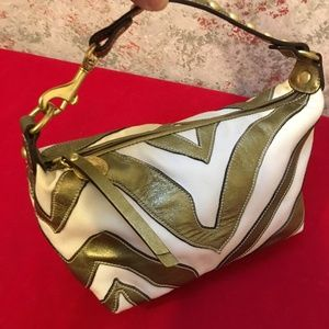 COACH Leather/Canvas Zebra Stripe Top Handle Pouch